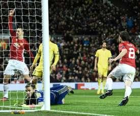 Juan Mata après avoir inscrit le but de Manchester United contre Rostov en Europa League. AFP