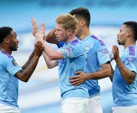 El City termina segundo con 81 puntos en la Premier League 2019-20. AFP