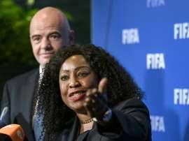 La secrétaire générale de la Fifa, Fatma Samoura, en conférence de presse au siège de linstance internationale, le 13 octobre 2016 à Zurich