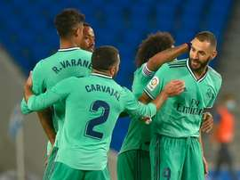 Karim Benzema got the winner for Real Madrid at Sociedad. AFP