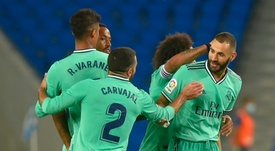 Karim Benzema got the winner for Real Madrid at Sociedad. AFP