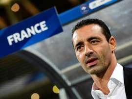 L'entraîneur des Bleues Olivier Echouafni lors du match de qualifs pour l'Euro 2017. AFP