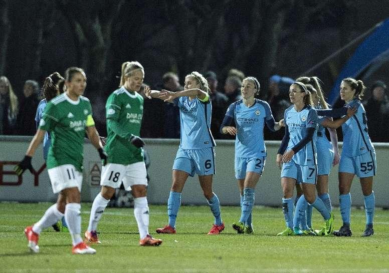 Manchester City, vainqueur de Fortuna Hjørring, sera l'adversaire de Lyon en demi-finales de C1. AFP
