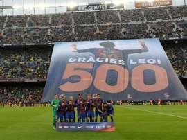 Em causa, os 500 gols do jogador pelo 'Barça'. AFP