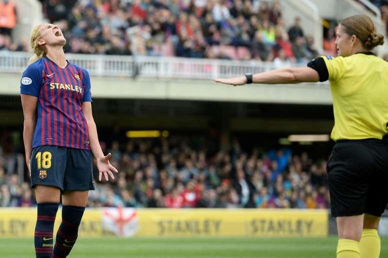 Kheira Hamraoui prolonge une saison au FC Barcelone. AFP