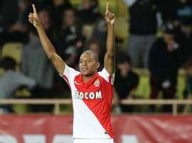 Lattaquant de Monaco Kylian Mbappé fête un but contre Montpellier, le 21 octobre 2016 à Louis-II