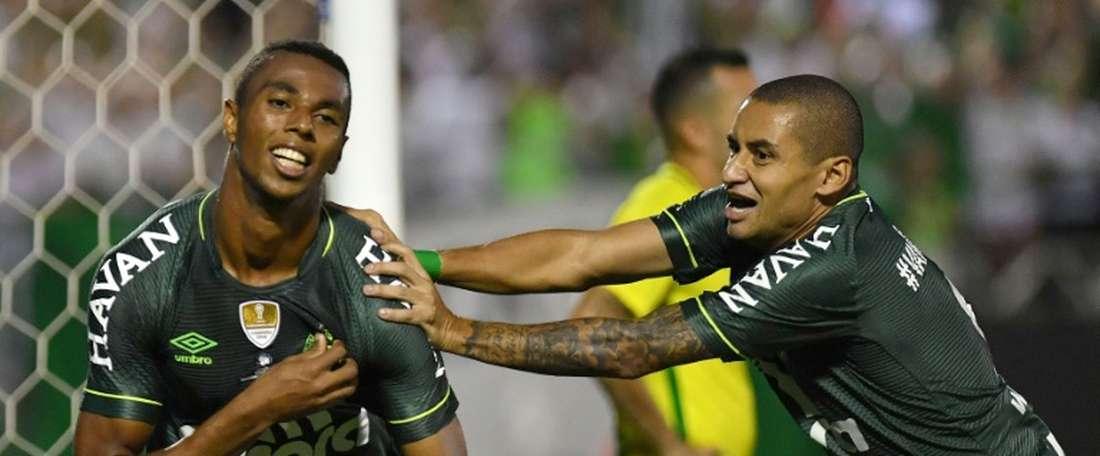 La joie de Otavio du Chapecoense après son but face à Atletico Nacional en Recopa Sudamericana. AFP