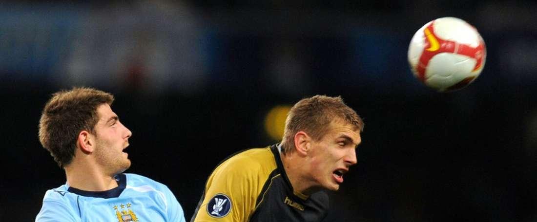 Le Gallois Ched Evans alors sous le maillot de Manchester City. AFP