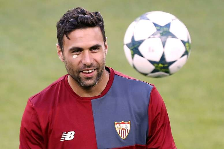 Le gardien italien Salvatore Sirigu, lors d'un entraînement avec le Séville FC. AFP