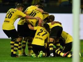 Les joueurs du Borussia Dortmund célèbrent louverture du score par Pierre-Emerick Aubameyang, le 23 septem,bre 2016 face à Fribourg