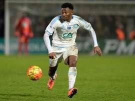 Georges-Kevin Nkoudou sous le maillot de l'OM face à Bordeaux au stade Chaban-Delmas. AFP