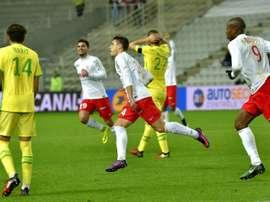 Joffrey Cuffaut, goleador ante el Nantes. AFP