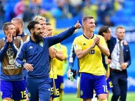 Jimmy Durmaz à la fin du match victorieux contre la Suisse en 8e de finale du Mondial. AFP