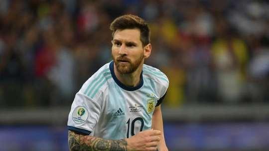 Lionel Messi lors de la rencontre contre le Paraguay. AFP