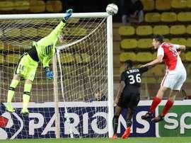 Le gardien Paul Nardi, sous le maillot de Monaco, face à Rennes en Coupe de la Ligue. AFP