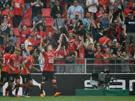 Benjamin Bourigeaud a ouvert le score pour Rennes. AFP