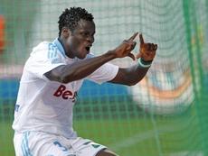 Taye Taiwo, sous le maillot de Marseille contre Montpellier. AFP