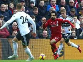 Salah abrió el marcador con polémica. AFP