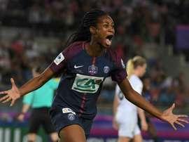 Marie-Antoinette Katoto après un but contre l'OL en finale de la Coupe de France de football. AFP