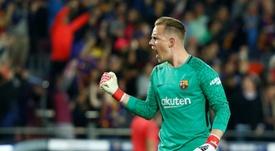 Ter Stegen también elogió a Messi por su nuevo récord. AFP/Archivo