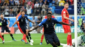 France's one goal came from a corner. AFP
