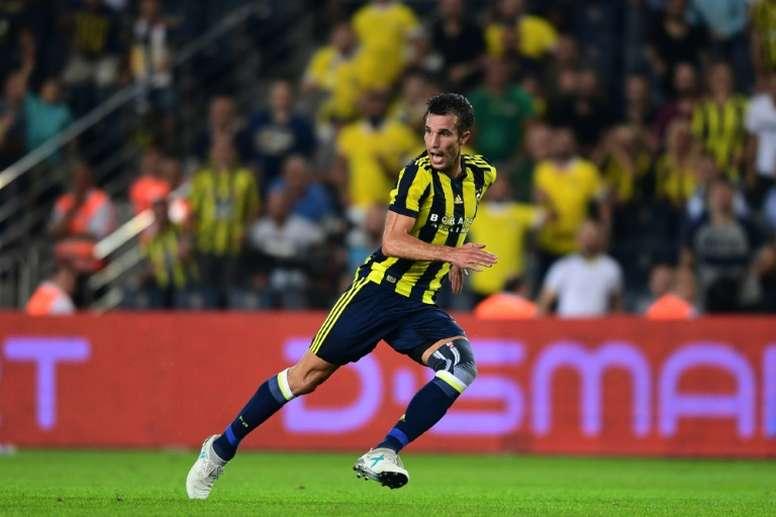 Robin Van Persie avec Fenerbahçe face à Sturm Graz en Ligue Europa, le 3 août 2017 à Istanbul. AFP