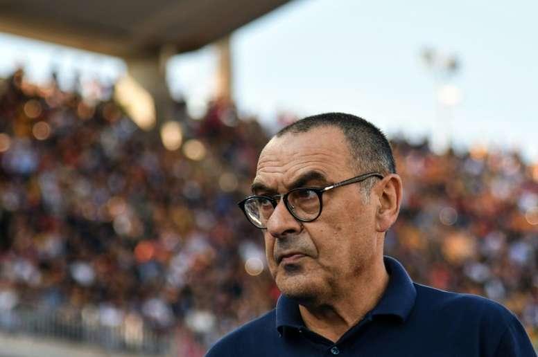 L'entraîneur de la Juventus Maurizio Sarri avant le copup d'envoi du match contre Lecce en Serie A, le 26 octobre 2019 à Lecce