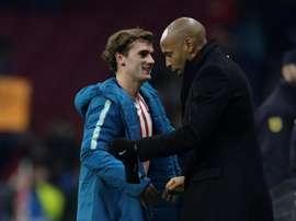 Henry, asombrado tras ver a Simeone en acción. AFP