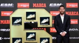 Messi has won his sixth Golden Shoe. AFP