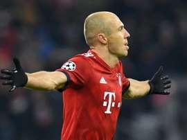 Arjen Robben célèbre son but face au Benfica Lisbonne. AFP