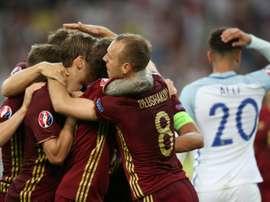La joie des joueurs russes après leur égalisation face aux Anglais à lEuro, le 11 juin 2016 à Marseille