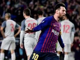 Leo MEssi é pela sexta vez o melhor marcador da Liga Espanhola. AFP