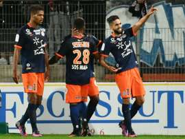 La joie des joueurs de Montpellier après un but contre lOM, le 4 novembre 2016 à La Mosson