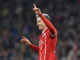 Robert Lewandowski après un but contre Cologne. AFP
