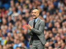Le manager de Manchester City Pep Guardiola, lors de la réception de West Bromwich. AFP