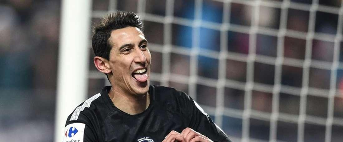 L'attaquant argentin du PSG réagit après avoir inscrit un but. AFP