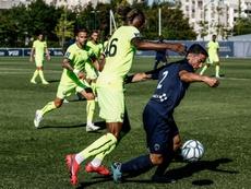 Le Paris FC à l'assaut de la défense de Caen. AFP