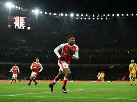 Alex Iwobi, auteur du 2e but d'Arsenal dans le derby londonien contre Crystal Palace. AFP
