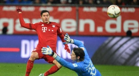 Lewandowski scoring past Hitz in 2016. He scored another two past him on Saturday. AFP
