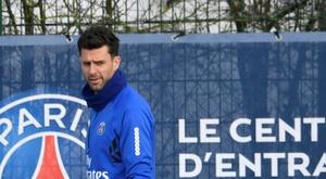 Thiago Motta lors d'une séance du PSG, le 9 février 2018 à Saint-Germain-en-Laye. AFP