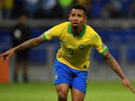 Gabriel Jesus exulte après avoir inscrit un but contre l'Argentine en Copa America. AFP