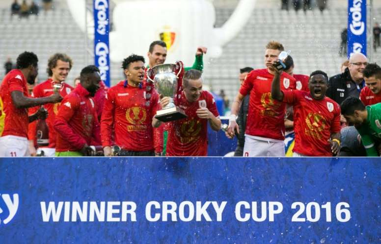 Léquipe du Standard de Liège victorieuse de la Coupe de Belgique face au FC Bruges, le 20 mars 2016 à Bruxelles