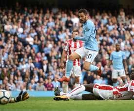 El City ha desmontado al Stoke a base de goles. AFP