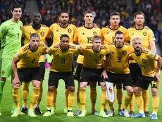 L'équipe de Belgique lors de sa présentation avant le match de qualification à l'Euro 2020. AFP
