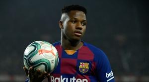 Primer once de Setién en el Barcelona. AFP
