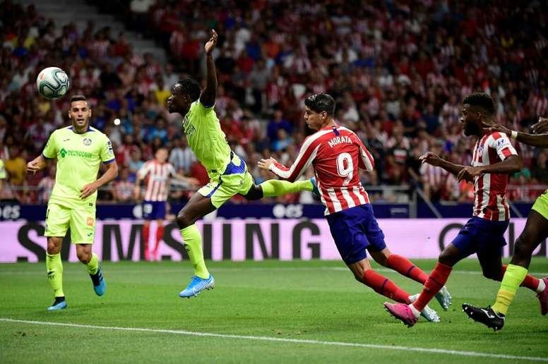 Alvaro Morata ouvre le score pour l'Atletico lors du derby de Madrid contre Getafe. AFP
