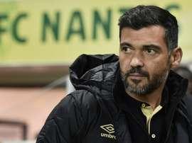 Le nouvel entraîneur de Nantes Sergio Conceiçao lors du match de Coupe de la Ligue face à Montpellier, le 13 décembre 2016 à La Beaujoire