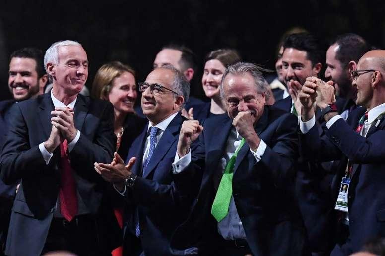 Le comité Canada-Mexico-USA exulte après l'obtention de l'organisation du Mondial 2026. AFP
