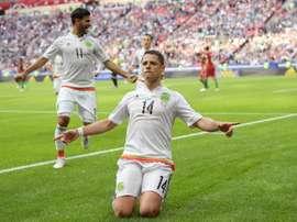 Chicharito, auteur du premier but contre le Portugal lors de la Coupe des Confédérations. Goal