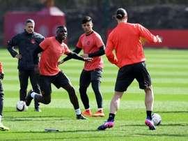 Les joueurs de Manchester United lors d'une séance d'entraînement, le 15 mars 2017 à Manchester. AFP